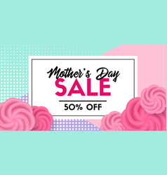 Mothers day sale promo card facebook link size vector