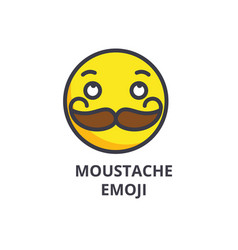moustache emoji line icon sign vector image