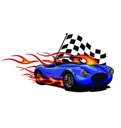 muscle car with flames and vector image