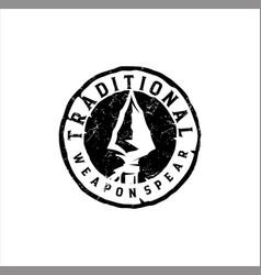 Native indian spear arrowhead logo design hunting vector