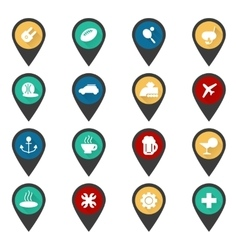 navigation sign with flat travel icons vector image