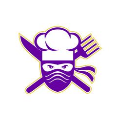 Ninja chef crossed knife fork icon vector