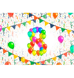 number eight made up from colorful balloons on vector image