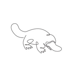 one continuous line drawing cute platypus vector image