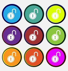 Open lock icon sign Nine multi colored round vector