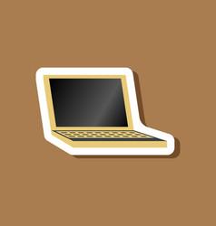 paper sticker on stylish background laptop vector image