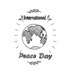 Peace day international holiday poster with earth vector