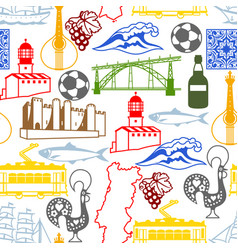 portugal seamless pattern portuguese national vector image