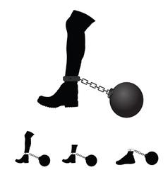 Prison ball on leg vector