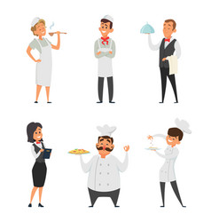 professional staff of the restaurant cook waiter vector image vector image