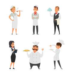Professional staff restaurant cook waiter vector