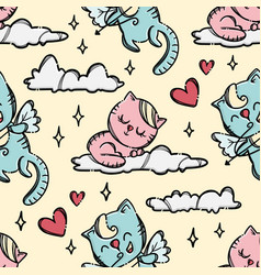 Pussy on cloud valentine seamless pattern vector
