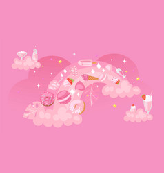 rainbow pink background sweets fabric pattern vector image