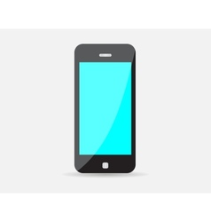 Realistic black mobile phone with blue screen vector image