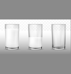 realistic transparent glasses for milk full and vector image