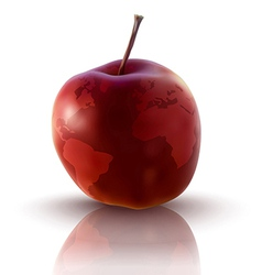 red apple with planet earth vector image