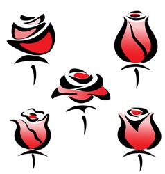 rose set symbols vector image
