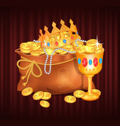 Royal treasures in sack bag with gold and coins vector