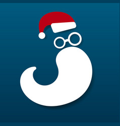 santa claus hat and beard on blue background vector image