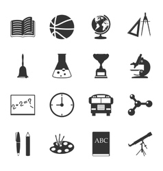 School black and white flat icons set vector