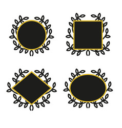 set of geometric frames with wreath vector image