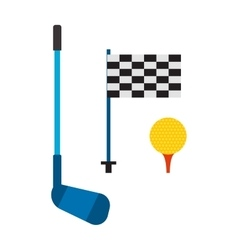 Set of golf club tee and ball sport leisure vector image