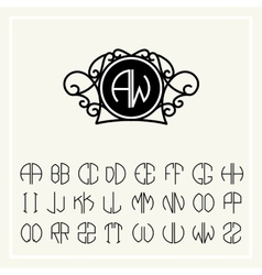 Set template to create monograms two letters vector