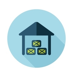 Shed flat icon with long shadow vector image