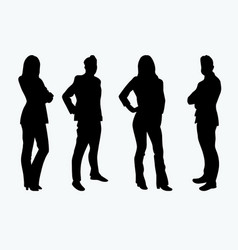 silhouettes businessman businesswoman vector image