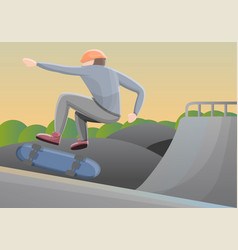 skater boy in park concept background cartoon vector image