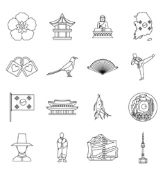 South Korea icons set outline style vector