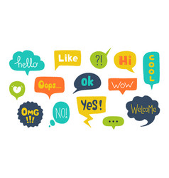 speech bubbles with text hand drawn trendy design vector image