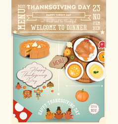 thanksgiving dinner menu card vector image