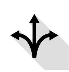 three-way direction arrow sign black icon with vector image