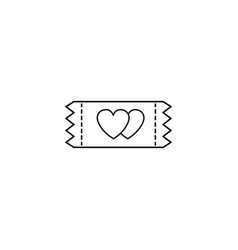 Ticket for sweethearts line icon vector