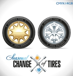 Tire Change Winter and Summer Wheels for the Car vector