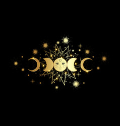 Triple moon gold pagan wiccan goddess symbol vector