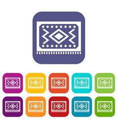 Turkish carpet icons set flat vector