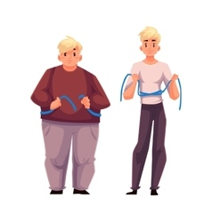 Two men fat and athletic measuring waist with vector image
