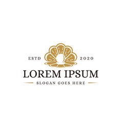 vintage minimalist luxury gold pearl logo icon vector image