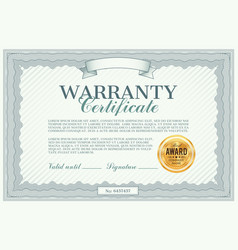 Warranty certificate template quality guarantee vector