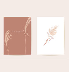 wedding invitation pampas grass boho card autumn vector image
