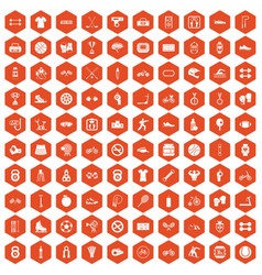 100 sport icons hexagon orange vector