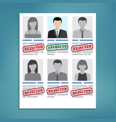 approved and rejected resumes vector image