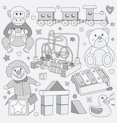 black and white children vintage toys vector image
