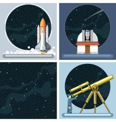 Digital silver cosmos rocket icons vector image vector image