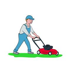 gardener mowing lawn cartoon vector image vector image