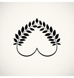 Laurel wreath heart tattoo icon Wheats swirl vector image vector image