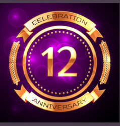 twelve years anniversary celebration with golden vector image vector image