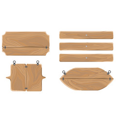 wooden warning boards collection isolated on white vector image
